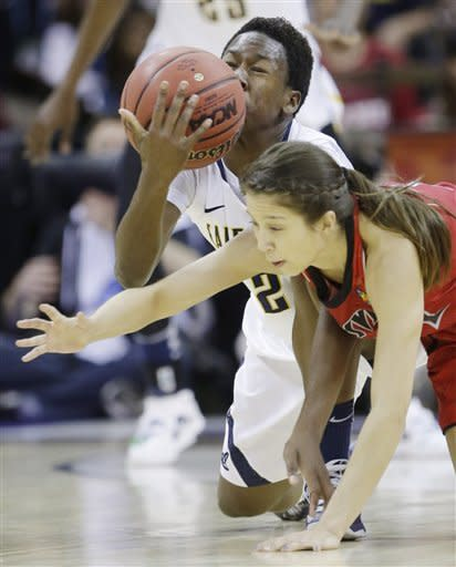 California guard Afure Jemerigbe (2) and Louisville guard Jude Schimmel (22) battle for a loose ball in the first half of a national semifinal at the Women's Final Four of the NCAA college basketball tournament, Sunday, April 7, 2013, in New Orleans. (AP Photo/Gerald Herbert)
