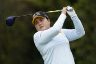 Inbee Park tees off at the second hole during the final round of the LPGA's Hugel-Air Premia LA Open golf tournament at Wilshire Country Club Saturday, April 24, 2021, in Los Angeles. (AP Photo/Ashley Landis)