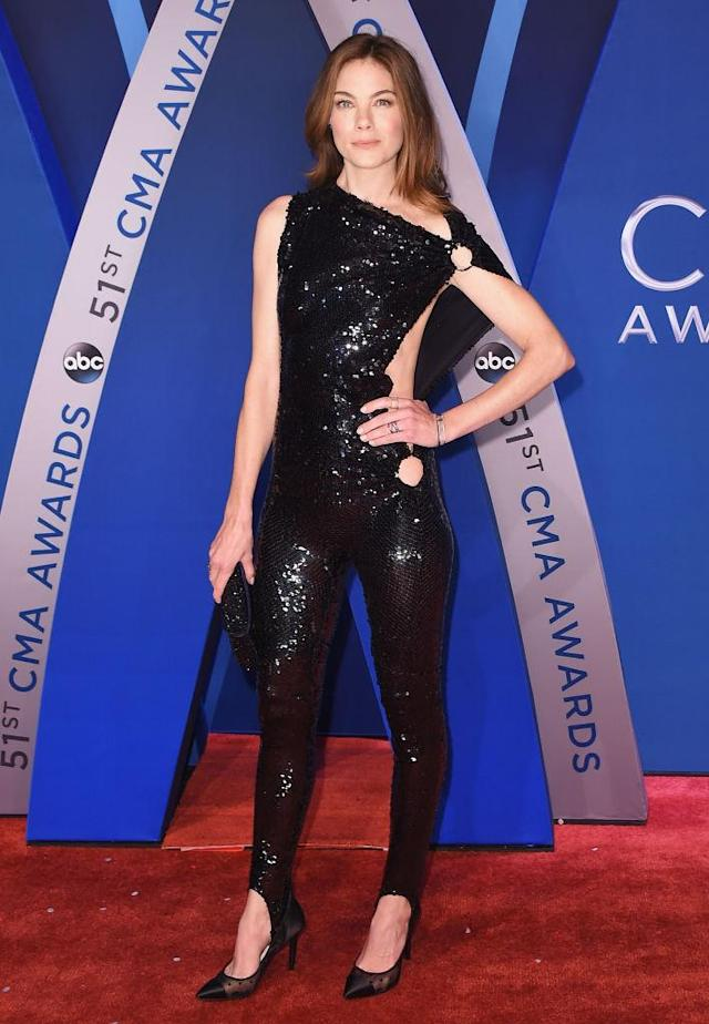 <p>The actress turned heads in a sequined jumpsuit with a slash to one side. (Photo: Getty Images) </p>