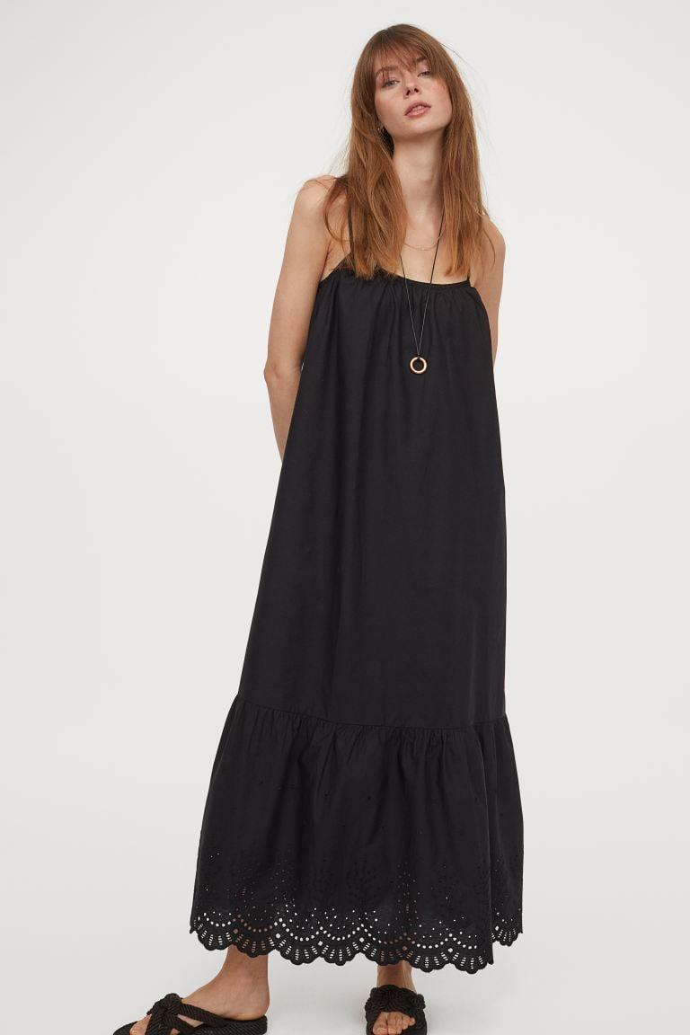 <p>Pair this <span>Long Poplin Dress</span> ($50) with some slide sandals, and you're ready for a stylish and effortless day in the city. The embroidery at the hem makes it a step above the rest.</p>