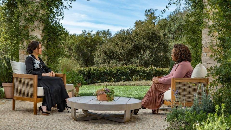 Meghan Markle and Oprah Winfrey during their US TV interview (Photo: CBS/PA Media)