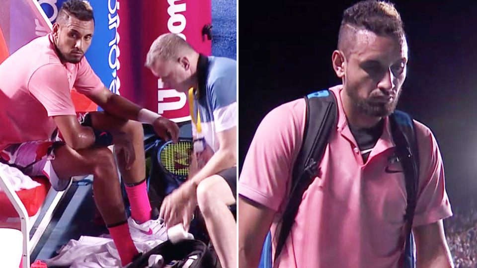 Nick Kyrgios, pictured here after retiring hurt at the Mexico Open.