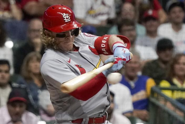 St. Louis Cardinals' Harrison Bader hits a single during the first inning of a baseball game against the Milwaukee Brewers Friday, Sept. 3, 2021, in Milwaukee. (AP Photo/Morry Gash)