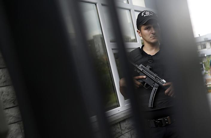<p>A police officer stands outside the Forensic Medical Center in Istanbul, Wednesday, June 29, 2016. (AP Photo/Emrah Gurel) </p>