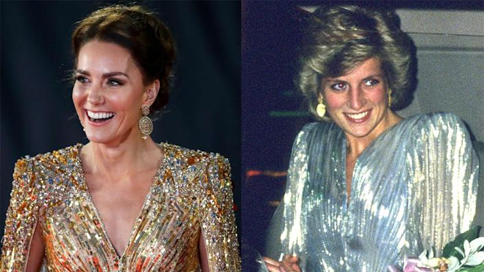 """Kate Middleton and Princess Diana's dress featured similar shaping, necklines, colors and more. <span class=""""copyright"""">Getty Images</span>"""