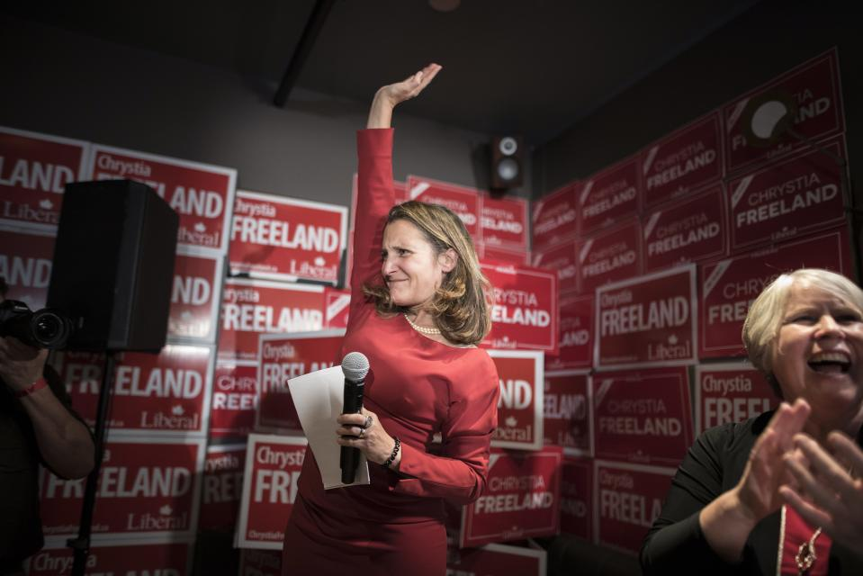 Liberal candidate Chrystia Freeland celebrates her re-election with supporters at the Peacock Public House in Toronto on Monday, October 21, 2019. THE CANADIAN PRESS/ Tijana Martin