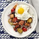 """<p>Eggs and salmon, two staples of the Mediterranean diet, make for a filling breakfast, especially when combined with diner favorites like potatoes and peppers.</p><p><strong><em><a href=""""https://www.prevention.com/food-nutrition/recipes/a34165285/salmon-hash-sunny-side-up-eggs-recipe/"""" rel=""""nofollow noopener"""" target=""""_blank"""" data-ylk=""""slk:Get the recipe from Prevention »"""" class=""""link rapid-noclick-resp"""">Get the recipe from Prevention »</a></em></strong></p>"""