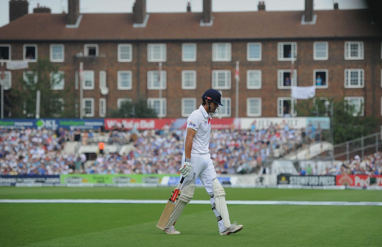 England's Alastair Cook leaves the field after losing his wicket during day three of the Fifth Investec Ashes Test match at The Kia Oval, London.