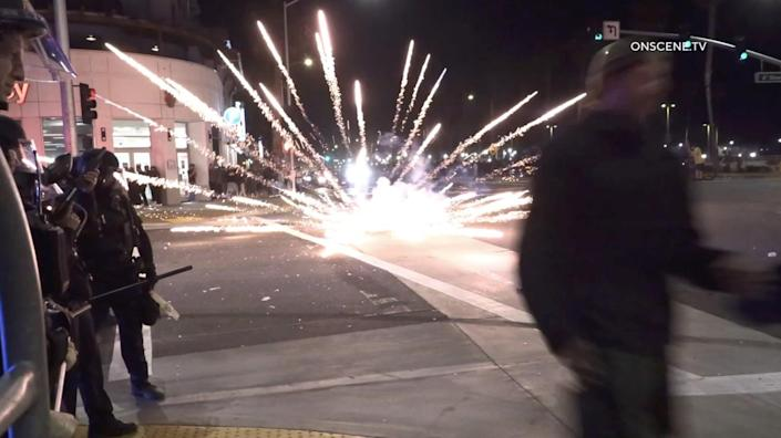 Kickback attendees blasted fireworks into crowds in the middle of Pacific Coast Highway at 6th Street.