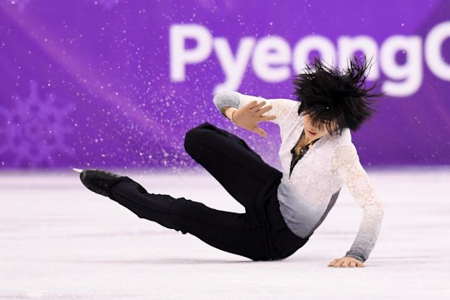 <p>Junhwan Cha of Korea falls while competing during the Men's Single Free Program on day eight of the PyeongChang 2018 Winter Olympic Games at Gangneung Ice Arena on February 17, 2018 in Gangneung, South Korea. (Photo by Harry How/Getty Images) </p>