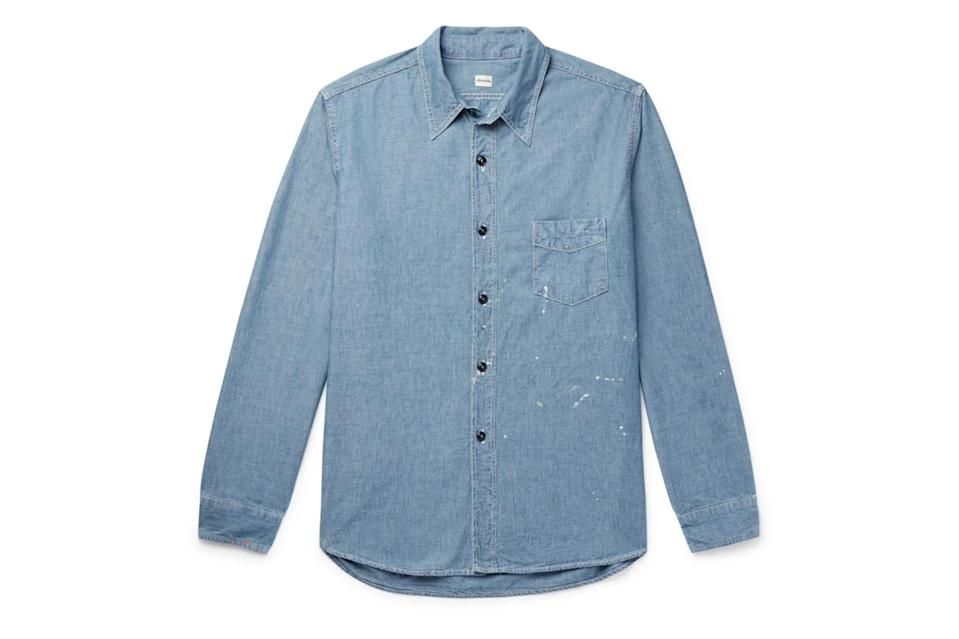 "$345, Mr Porter. <a href=""https://www.mrporter.com/en-us/mens/product/chimala/clothing/plain-shirts/paint-splattered-cotton-chambray-shirt/30049528927118940"" rel=""nofollow noopener"" target=""_blank"" data-ylk=""slk:Get it now!"" class=""link rapid-noclick-resp"">Get it now!</a>"