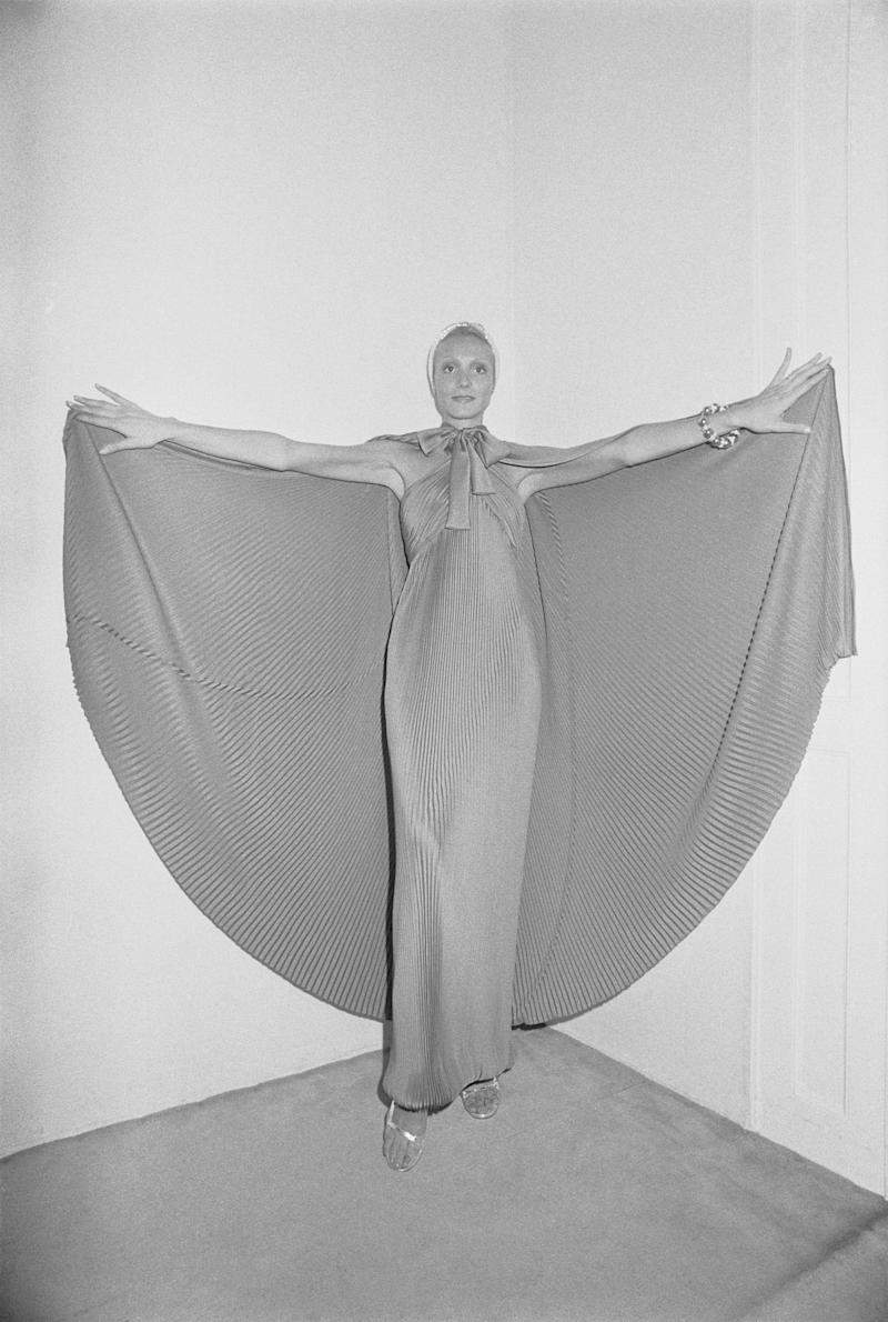 A model wears a design from Givenchy's fall/winter 1974-1975 ready-to-wear collection.