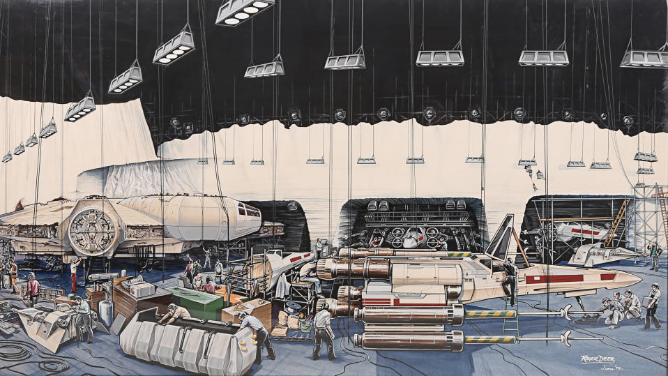 Roger Deer painting of crew preparing the set of an ice hangar for 'Star Wars: The Empire Strikes Back'. (Credit: Roger Deer/Prop Store)