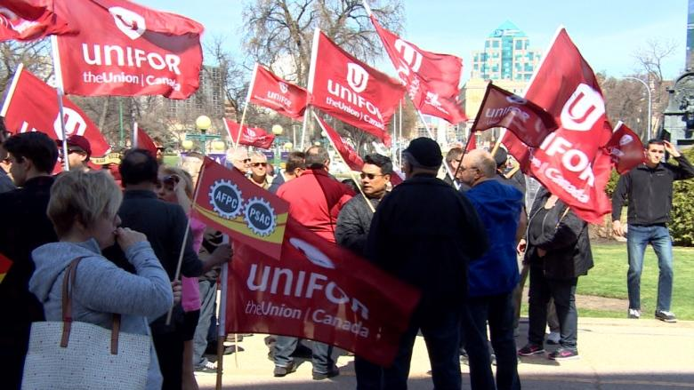 Union workers rally against budget 'attack' on public service