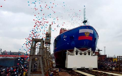 The icebreaker was launched to much fanfare at the Baltic shipyard in St Petersburg - Credit: Olga Maltseva/AFP
