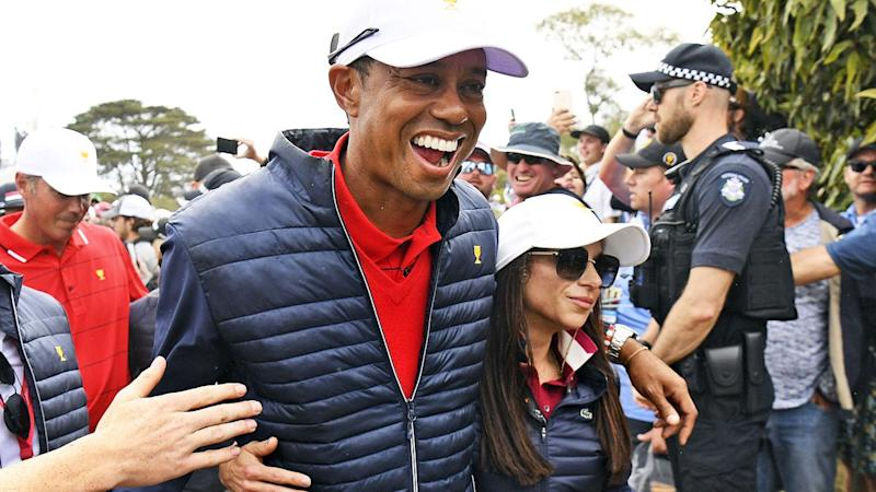 Tiger Woods, pictured here celebrating with girlfriend Erica Herman at the Presidents Cup.