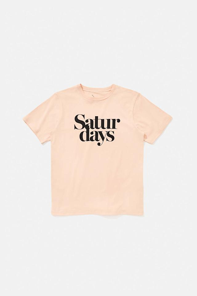 "<p>Miller Black T-Shirt in Clay, $40, <a rel=""nofollow"" href=""https://www.saturdaysnyc.com/item/miller-black-t-shirt-clay"">saturdaysnyc.com</a>.<span></span></p>"