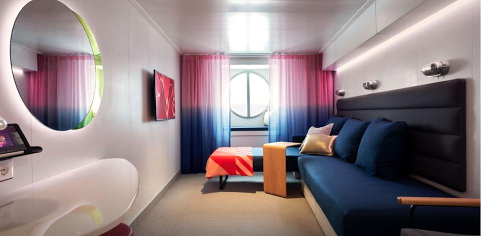 The Virgin Cruises website shows the inside of a Sea View cabin on board the Scarlet Lady (Virgin Cruises)
