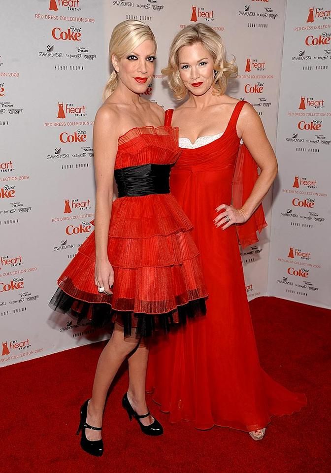 """""""90210"""" stars Tori Spelling and Jennie Garth were red hot at the Heart Truth's Red Dress Collection 2009 Fashion Show. Hollywood celebs don scarlet frocks during the annual fashion show to raise awareness for heart disease. Dimitrios Kambouris/<a href=""""http://www.wireimage.com"""" target=""""new"""">WireImage.com</a> - February 13, 2009"""