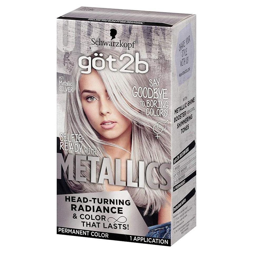 """<p><strong>Schwarzkopf</strong></p><p><strong>$5.14</strong></p><p><a href=""""https://go.redirectingat.com?id=74968X1596630&url=https%3A%2F%2Fwww.walmart.com%2Fip%2FSchwarzkopf-Got2b-Metallic-Permanent-Hair-Color-M71-Metallic-Silver%2F919772551&sref=https%3A%2F%2Fwww.bestproducts.com%2Fbeauty%2Fg3176%2Fgrey-silver-hair-dye%2F"""" rel=""""nofollow noopener"""" target=""""_blank"""" data-ylk=""""slk:Shop Now"""" class=""""link rapid-noclick-resp"""">Shop Now</a></p><p>Looking to go a little more against the grain? Then this grey hair dye is exactly what you need. It has a metallic hue that'll give you a grungy, edgy look.</p>"""