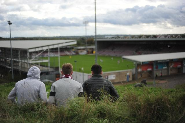 Northampton fans watching from outside the ground