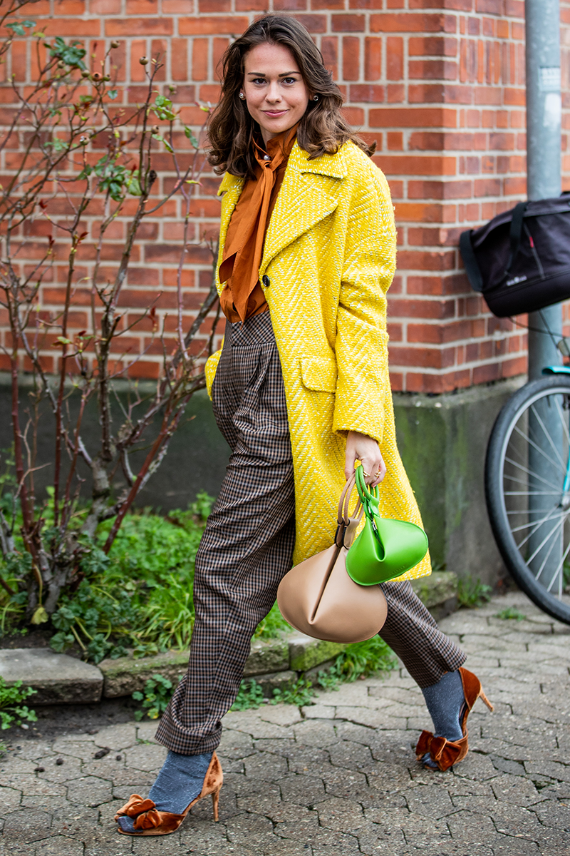 <p>Give your look a zesty touch by shrugging on a lemon coat, like this beauty. Turn up the dial by teaming with fruity pieces like this tangerine blouse and lime top-handle bag.</p>