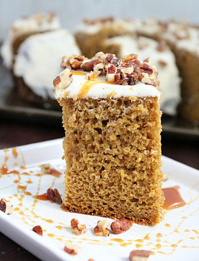 """<p>Of course, this <a href=""""https://www.countryliving.com/food-drinks/g274/pumpkin-cakes/"""" rel=""""nofollow noopener"""" target=""""_blank"""" data-ylk=""""slk:pumpkin cake"""" class=""""link rapid-noclick-resp"""">pumpkin cake</a> is delicious on its own. But the cream cheese frosting, chopped walnuts, and caramel drizzle take it to the next level.</p><p><strong>Get the recipe at <a href=""""https://ourtableforseven.com/2018/11/crock-pot-pumpkin-spice-cake-with-cream-cheese-frosting.html"""" rel=""""nofollow noopener"""" target=""""_blank"""" data-ylk=""""slk:Table for Seven"""" class=""""link rapid-noclick-resp"""">Table for Seven</a>.</strong> </p>"""