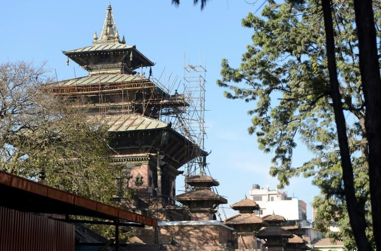 Workers renovate quake-damaged heritage sites at Durbar Square in Kathmandu