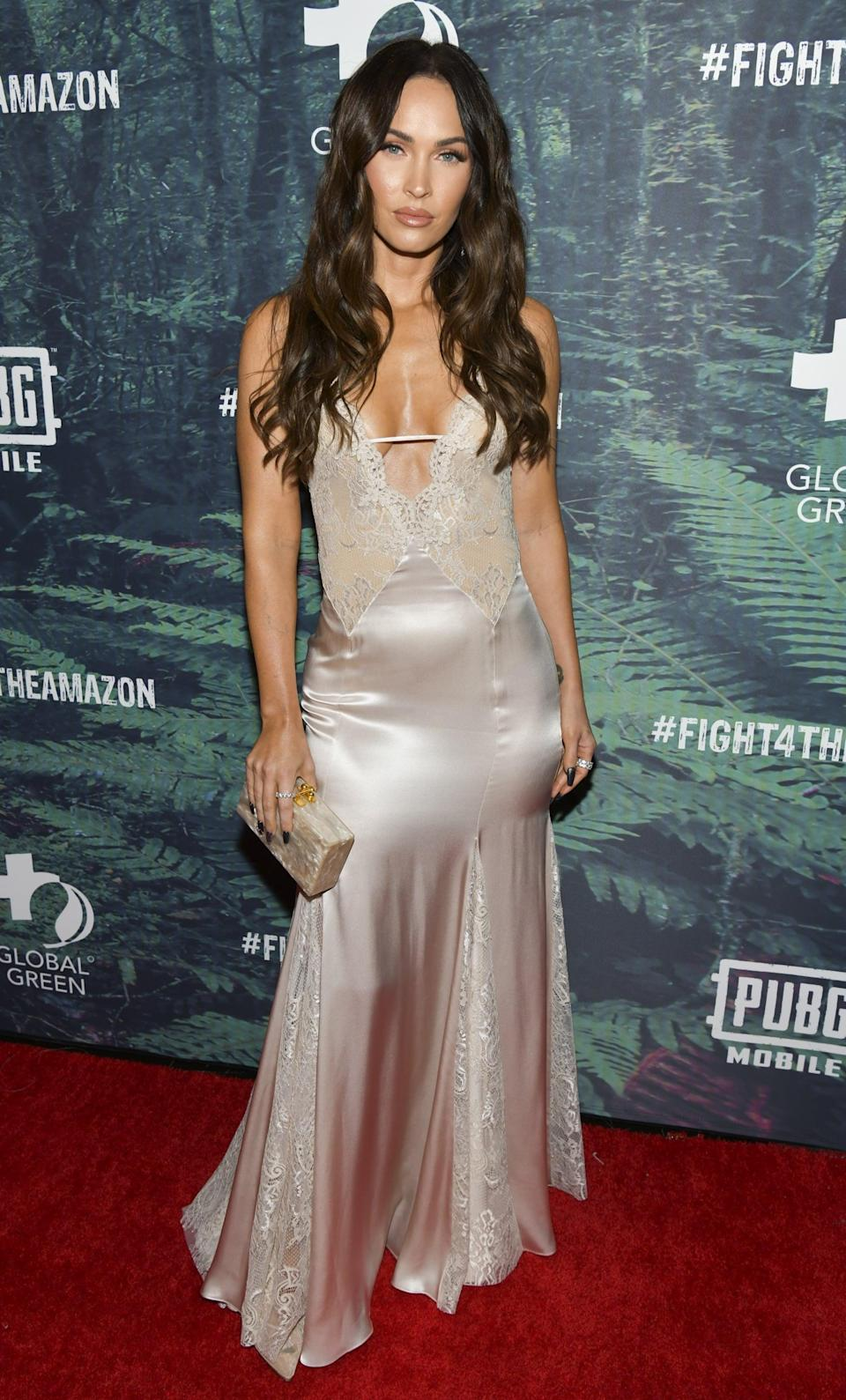 <p>She made an appearance at the 2019 #Fight4TheAmazon event in Hollywood wearing a lingerie-like Blumarine gown. </p>