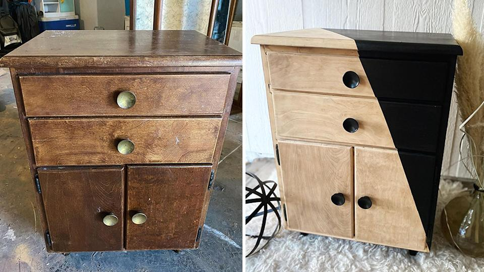 A side-by-side photo of a wooden bedside table before and after restoration