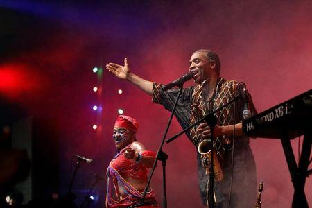 Afrobeat musician Femi Kuti performs at the annual musical celebration in honour of Nigeria's music icon Fela Kuti at the New Afrika Shrine in Lagos