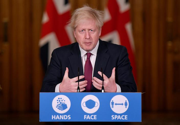 Prime Minister Boris Johnson speaks during a news conference in response to the ongoing situation with Covid-19) pandemic, at 10 Downing Street, London.
