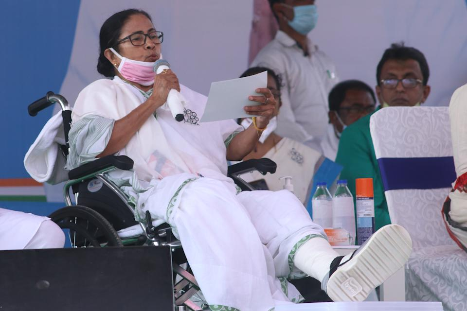 West Bengal chief Minister Mamata Banerjee at the Election Camping in Chainditala, India on March 28, 2021.  (Photo by Debajyoti Chakraborty/NurPhoto via Getty Images)