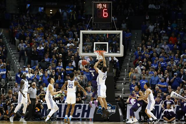 Kansas State's Barry Brown beat Kentucky with a driving layup with 19 seconds to play in the Sweet 16. (Getty)