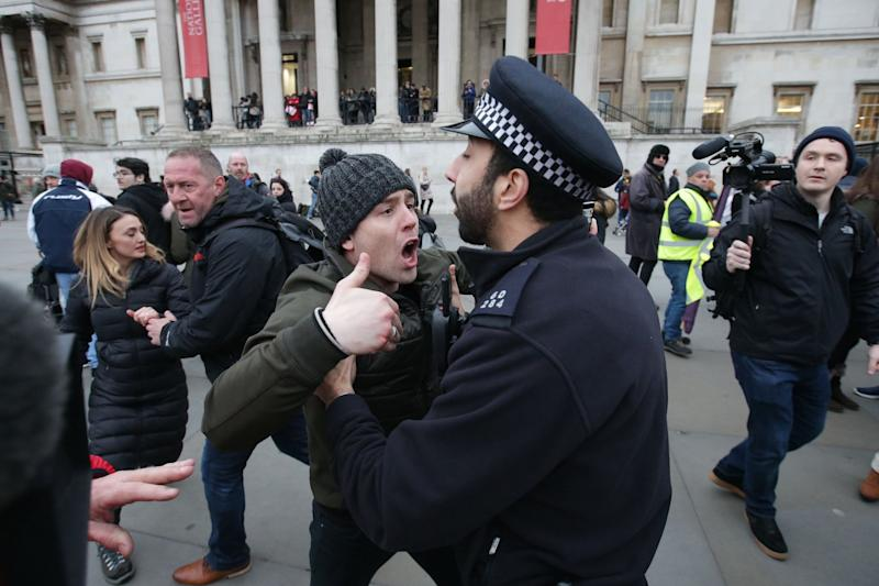 Pro-Brexit protesters confront police during the demonstration (AFP/Getty Images)