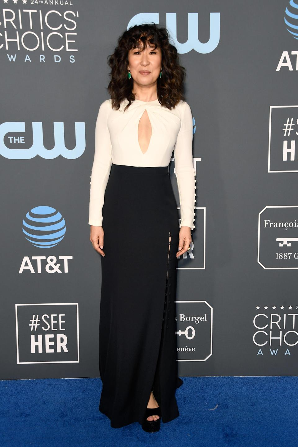 <p>Sandra Oh stunned in a monochrome dress. Source: Getty </p>