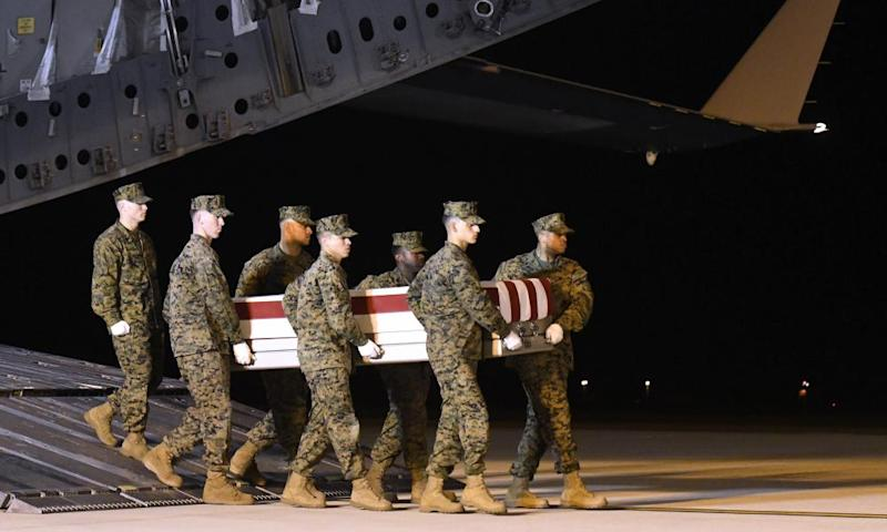 The body of Gunnery Sgt Diego Pongo is returned to the US after he was killed by a rocket attack near Baghdad