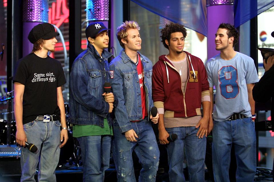 <p>The boy band O-Town visited <b>TRL</b> in NYC in 2001.</p>