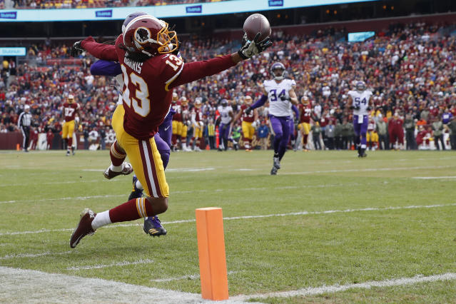 Can Washington's Maurice Harris continue to rack up points for fantasy footballers? Yahoo Fanalyst Liz Loza explains why she believes in the slot receiver. (AP Photo/Alex Brandon)