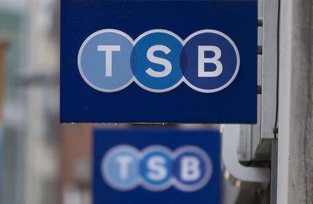 Signs are seen outside of a branch of TSB bank in London