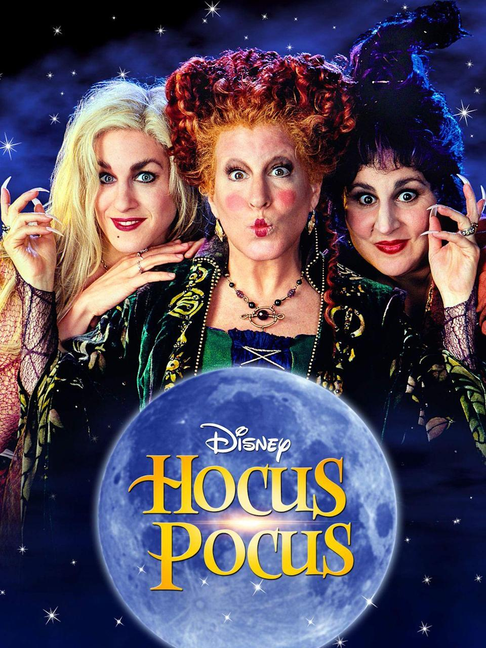 """<p>Get ready for some on-screen magic between Bette Midler, Sarah Jessica Parker, and Kathy Najimy. They play witch sisters who were — oops — executed 300 years earlier in Salem, Massachusetts. Flash forward to the '90s and they're baaaack. Modern-day trick-or-treaters, beware.</p><p><a class=""""link rapid-noclick-resp"""" href=""""https://www.amazon.com/Hocus-Pocus-Bette-Midler/dp/B004JMY312?tag=syn-yahoo-20&ascsubtag=%5Bartid%7C10070.g.37360837%5Bsrc%7Cyahoo-us"""" rel=""""nofollow noopener"""" target=""""_blank"""" data-ylk=""""slk:WATCH NOW"""">WATCH NOW</a></p>"""
