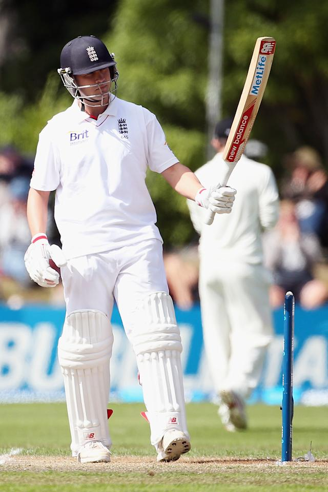 DUNEDIN, NEW ZEALAND - MARCH 10: Jonathan Trott of England celebrates fifty runs during day five of the First Test match between New Zealand and England at University Oval on March 10, 2013 in Dunedin, New Zealand.  (Photo by Hannah Johnston/Getty Images)