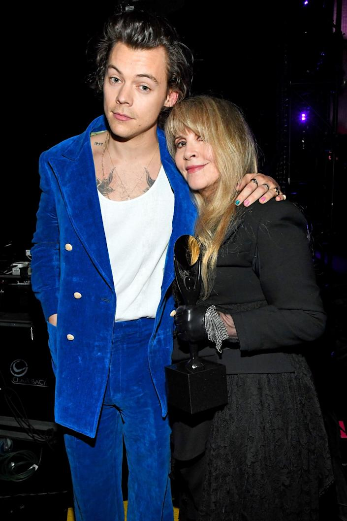 Harry Styles and inductee Stevie Nicks