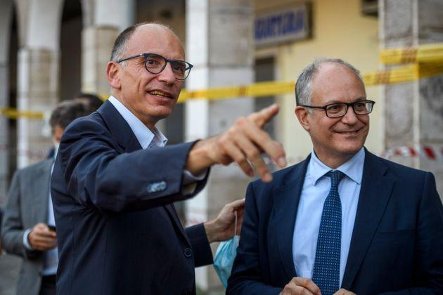 ROME, ITALY - SEPTEMBER 30: General Secretary of the Democratic Party (PD) Enrico Letta (R) and Roberto Gualtieri (PD), mayor of Rome candidate, attend a meeting organized by the left wing party