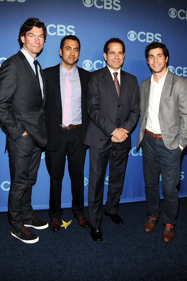 NEW YORK, NY - MAY 15:  (L-R) Cast members of We Are Men Jerry O'Connell, Kal Penn, Tony Shalhoub and Chris Smith attend CBS 2013 Upfront Presentation at The Tent at Lincoln Center on May 15, 2013 in New York City.  (Photo by Ben Gabbe/Getty Images)