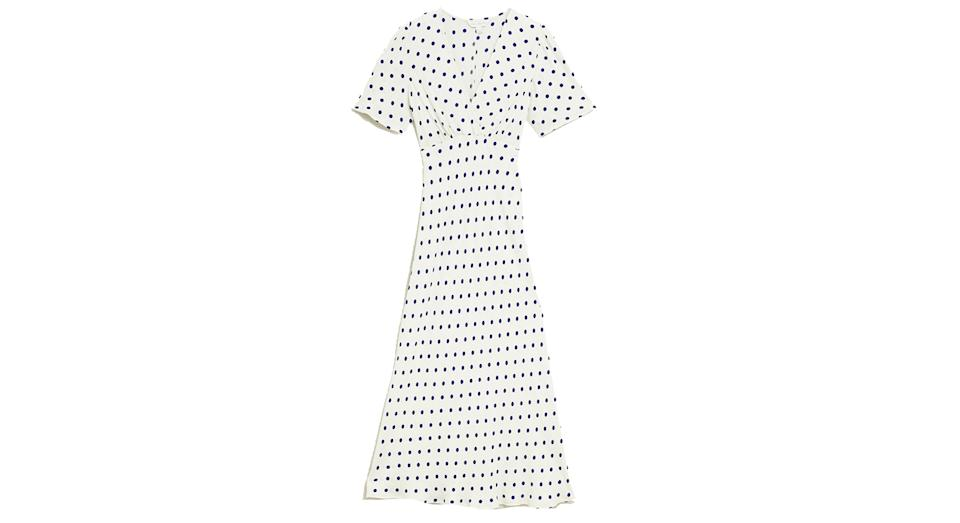 Polka Dot V-Neck Angel Sleeve Midi Dress