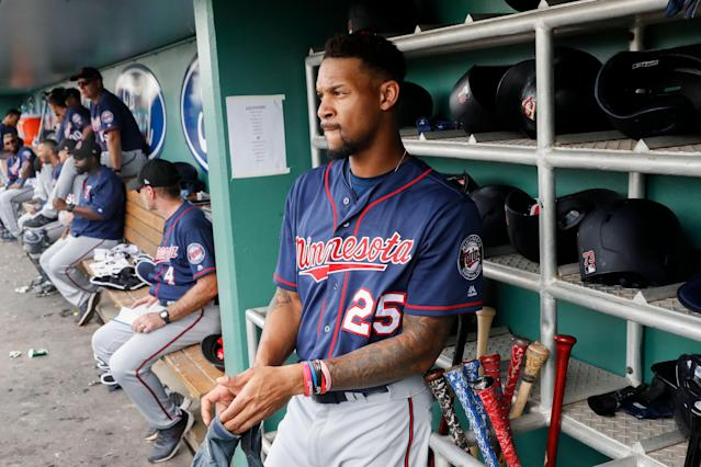 Byron Buxton is showing off in spring training — but is it legit? (AP Photo/John Minchillo)