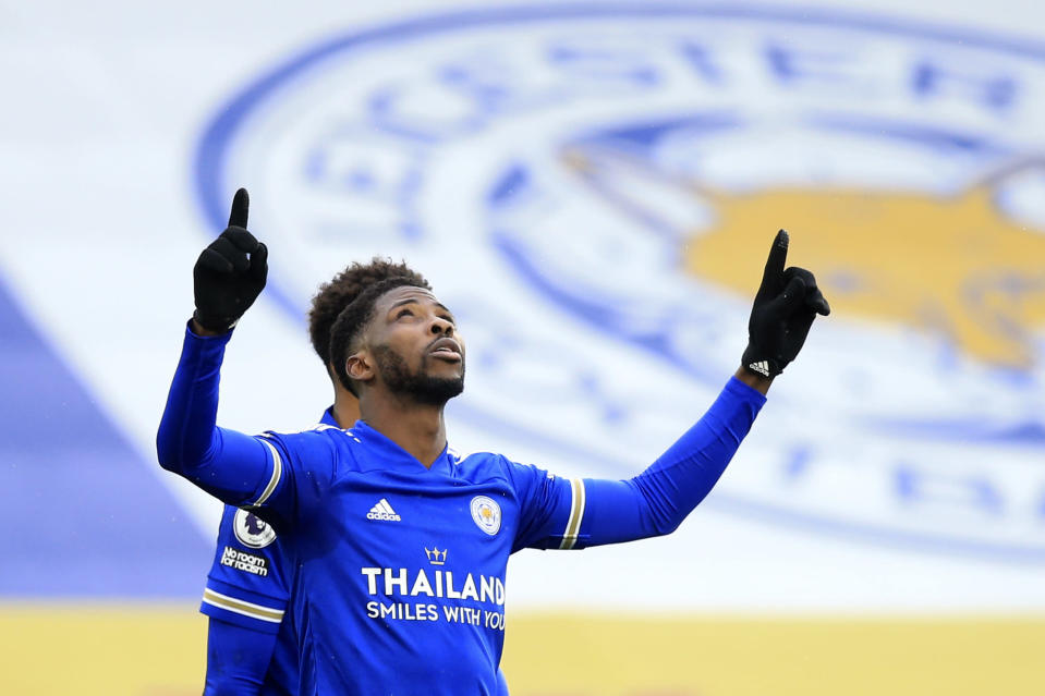 Leicester's Kelechi Iheanacho celebrates after scoring his side's third goal during the English Premier League soccer match between Leicester City and Sheffield United at the King Power Stadium in Leicester, England, Sunday, March 14, 2021. (Lindsey Parnaby/Pool via AP)