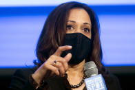 Democratic vice presidential candidate Sen. Kamala Harris, D-Calif., speaks during a campaign event, Friday, Oct. 23, 2020, in Atlanta. (AP Photo/John Amis)