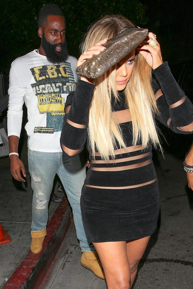 James Harden and Khloé Kardashian leave Kylie Jenner's 18th birthday party. (Photo: Backgrid)